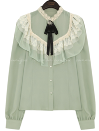 Brooch and Ribbon Accent Lace Trim Blouse