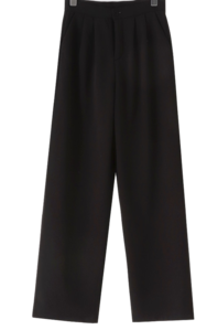 Black Raised Morphine Tuck Wide Slacks