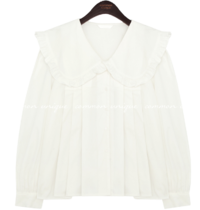 Frill-Trimmed Wide Collar Pleated Blouse