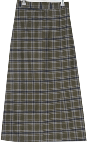 Check split banding long skirt