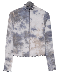 Watercolor wave Turtleneck t-shirt