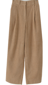 Toffee Nut Corduroy Pin Tuck Wide Pants