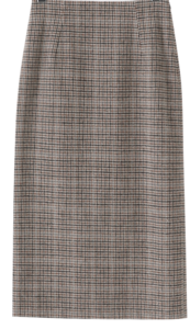 Popo Wool Check Long Skirt