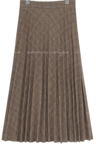 Check Pleated Long Skirt