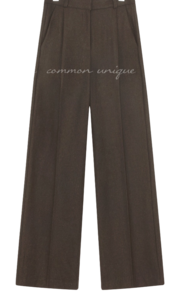 Pleat Accent Straight Wide Leg Slacks