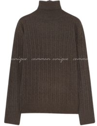 Twist Pattern Turtleneck Knit Top