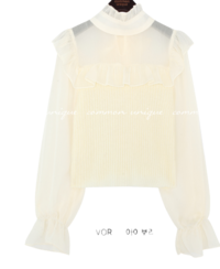 Ribbed Bodice Mock Neck Frilled Blouse