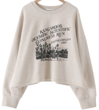 Olympic printing Fleece-lined Sweatshirt