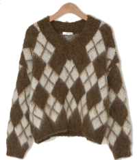Isabelle Argyle Pattern Wool Knit