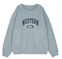Western printed brushed crew neck sweatshirt