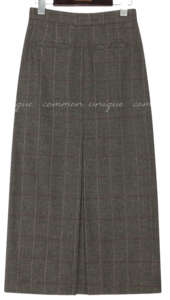 WOOL HERRINGBONE CHECK LONG SKIRT