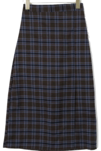 Split River Check Long Skirt