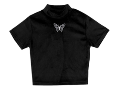 Butterfly mink cropped T-shirt