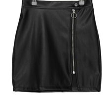 Zip-tipped leather mini skirt