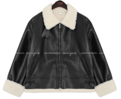 Fuzzy Lining Faux Leather Jacket