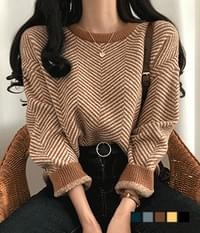 Herringbone box round neck knit