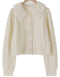 Lace collar cable cardigan