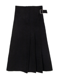 House belted pleated midi skirt