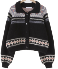 Nancy Pattern Wool Crop Cardigan