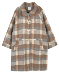 Tree check duffel long coat