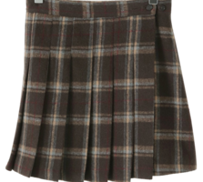 Holic Check Pleated Wool Mini Skirt
