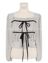 Contrast Ribbon Gathered Front Blouse
