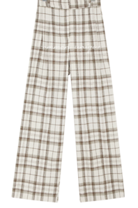 Pleat Accent Straight Check Pants