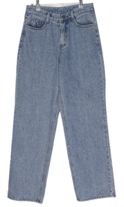 Shua straight fit wide Fleece-lined denim pants