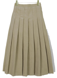 Corduroy pleated long skirt