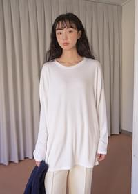 Basic Loose-fit Fleece-lined T-shirt