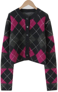Argyle Check Wool Crop Cardigan