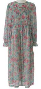 Garden Shirring Chiffon Long Dress