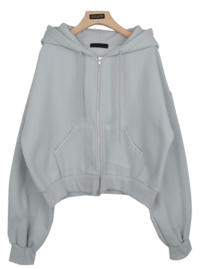 Clock cropped hooded zip-up