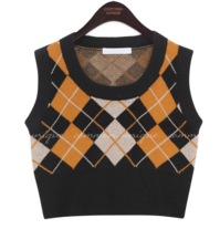Cropped Argyle Knit Vest
