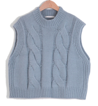 Ruzed Round Neck Knit Vest