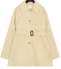 Wide Collar Belted Short Trench Coat