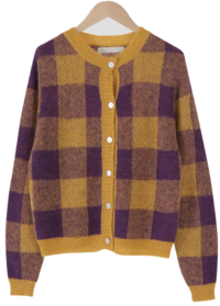 Mine check round cardigan