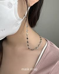 Silver heart chain necklace mask strap
