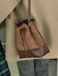 Vintage two-tone bucket shoulder bag