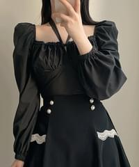 Eve Smoke Ribbon Shoulder Blouse 2color