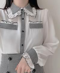 Luciel Hound Color Collar Blouse 2color