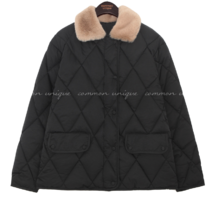 Fuzzy Collar Quilted Jacket