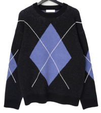 Shearun argyle round knit