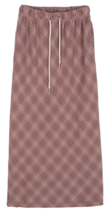 Leaf check banding maxi skirt