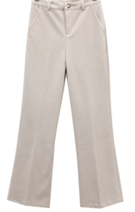 Double-sided brushed long bootcut slacks