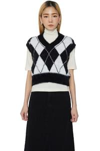 Chess argyle knit vest