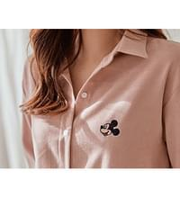 Cozy Mickey Embroidery Long shirt #47814