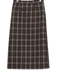 Check split long skirt