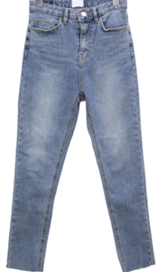 Ice brushed skinny slim straight jeans