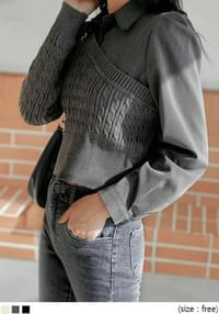 LIZIA WOOL LAYERED KNIT BLOUSE